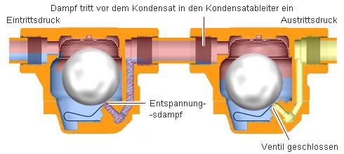 Dampfabschluss durch Reihenentwässerung